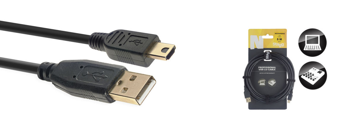 STAGG 5M CABLE USB/A-MINI A 2.0