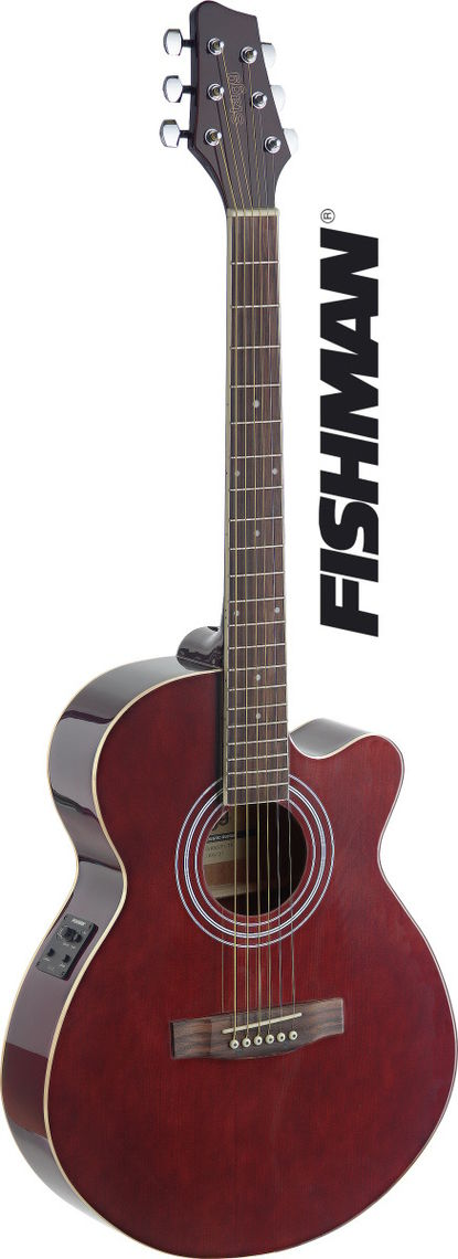 STAGG Guitare Folk SA40MJCFI-TR Electro Rouge